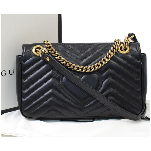 GUCCI GG Marmont Small Matelasse Leather Crossbody Bag Black 443497