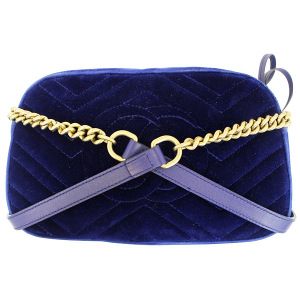GUCCI GG Marmont Velvet Small Crossbody Bag Blue