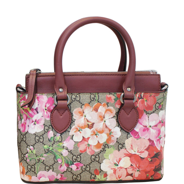 Gucci Satchel Bag GG Supreme Blooms Small Raisin