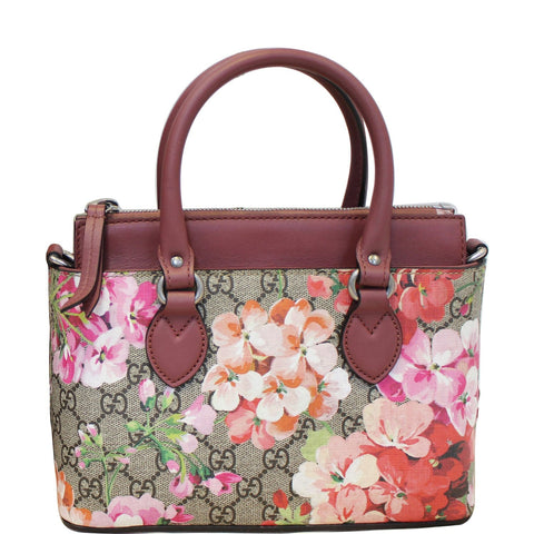 GUCCI GG Supreme Blooms Small Satchel Bag 453177 Raisin