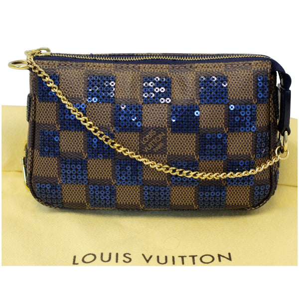LOUIS VUITTON Mini Pochette Damier Paillettes Accessories Pouch Blue