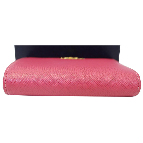 Prada Saffiano Wallet | Bifold Card Wallet Red - Downside View