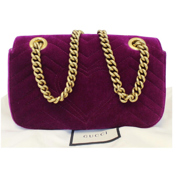 Gucci GG Marmont Velvet Mini Shoulder Crossbody Bag - back view