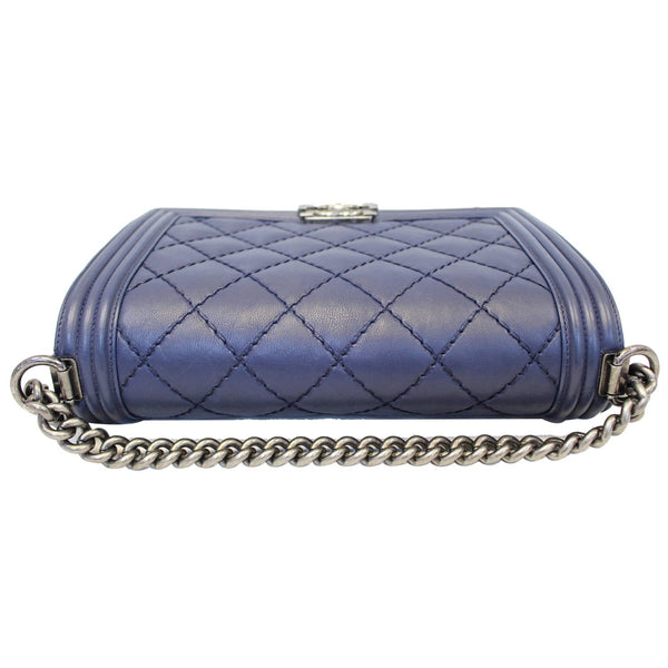 Chanel New Medium Boy Flap Calfskin Double Stitch Bag Navy bottom view