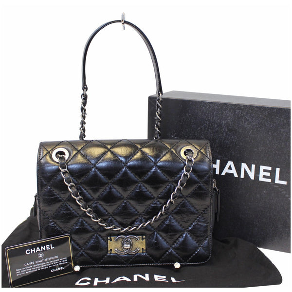 Chanel Flap CC Quilted Leather Crossbody Bag Black  - full view