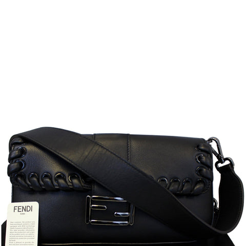 FENDI BAGUETTE Black Leather Shoulder Bag