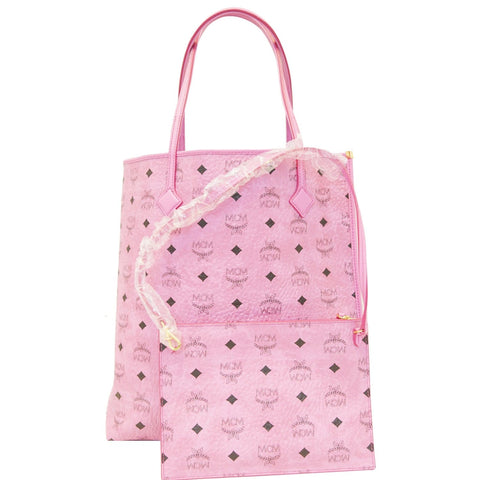 MCM Visetos Medium Shopper Tote Bag Pink