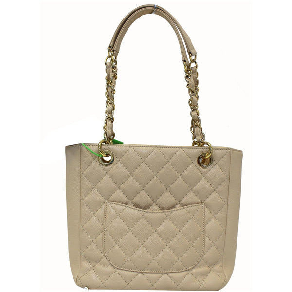 Chanel Tote Bag PST Caviar Leather Petit Shopping Beige strap