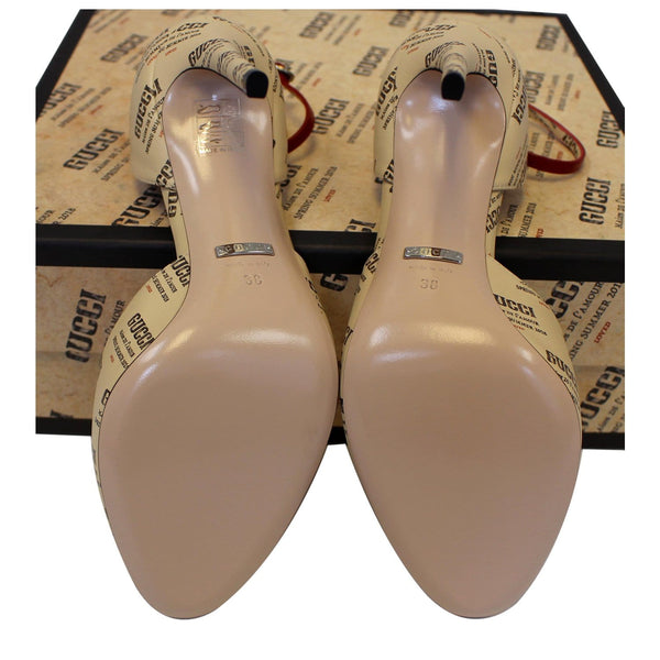 Gucci Invite Stamp Print Apollo Pumps Beige Size 38 - back view