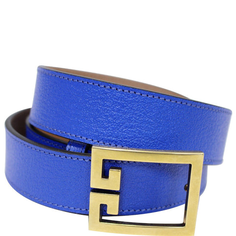 GIVENCHY Double G Logo Buckle Belt Blue Size 38