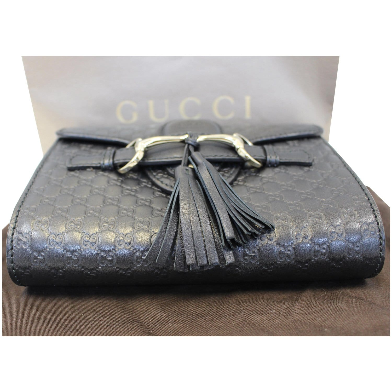 ea650d0f87af9 GUCCI Emily Mini Micro GG Guccissima Leather Shoulder Bag Black-US
