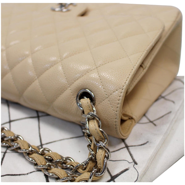 Chanel Jumbo Double Flap Caviar Leather Shoulder Bag Beige for sale