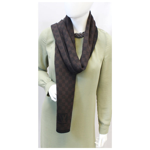 Louis Vuitton Damier Stole Scarf Wool Petit Brown on sale
