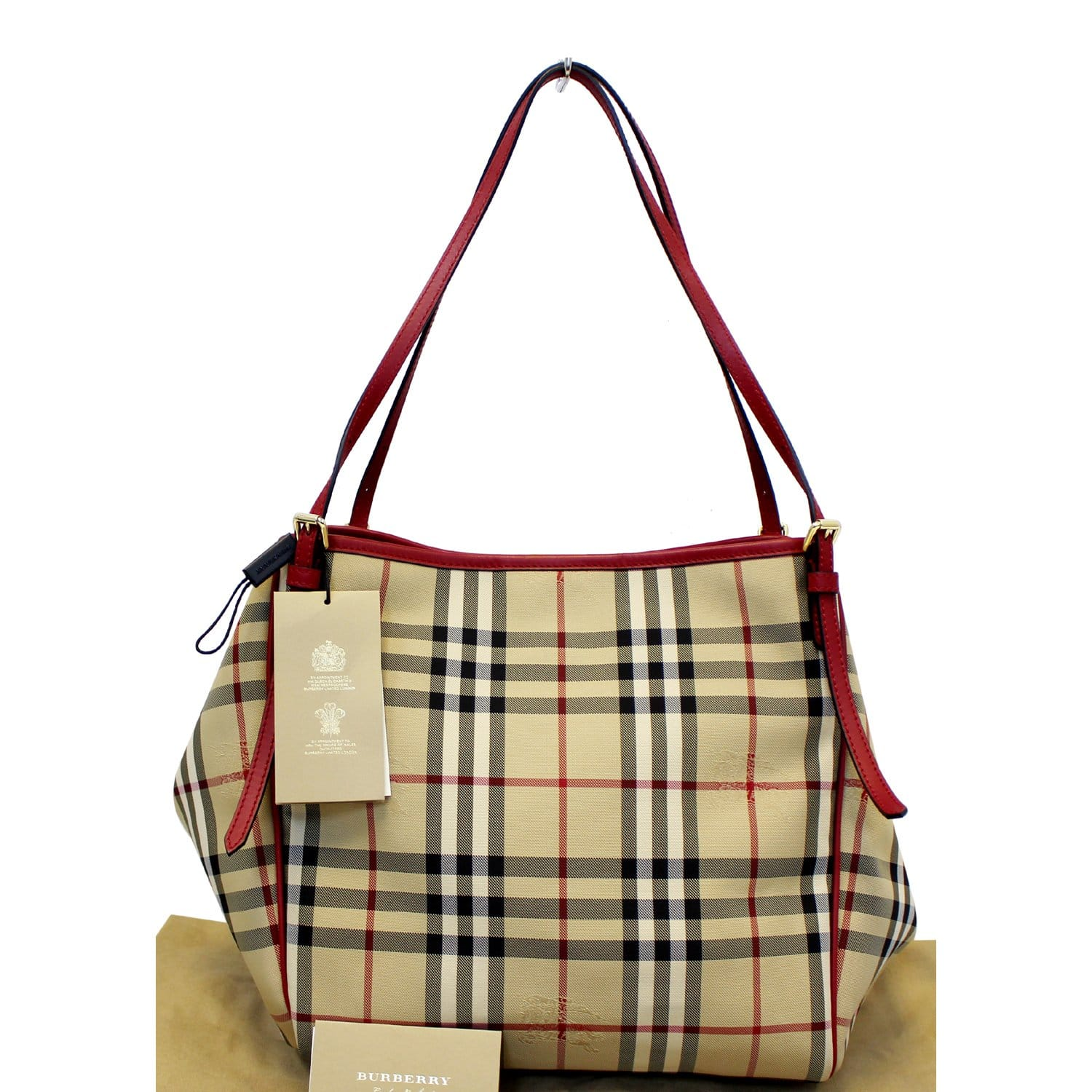 exquisite craftsmanship great variety styles unequal in performance BURBERRY Haymarket Check PVC Tote Shoulder Bag