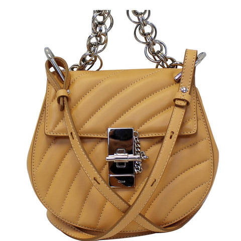 CHLOE Mini Drew Bijou Calfskin Shoulder Bag Peach
