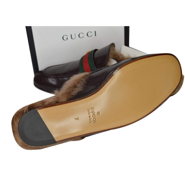 Gucci Princetown Fur Leather Slipper Cocoa Brown - shoes bottom sole