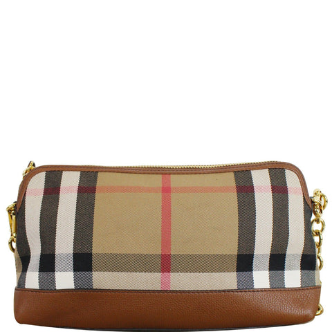 BURBERRY Abingdon Derby House Check Leather Crossbody Bag