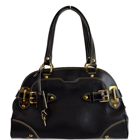 LOUIS VUITTON Le Radieux Suhali Leather Satchel Bag Black