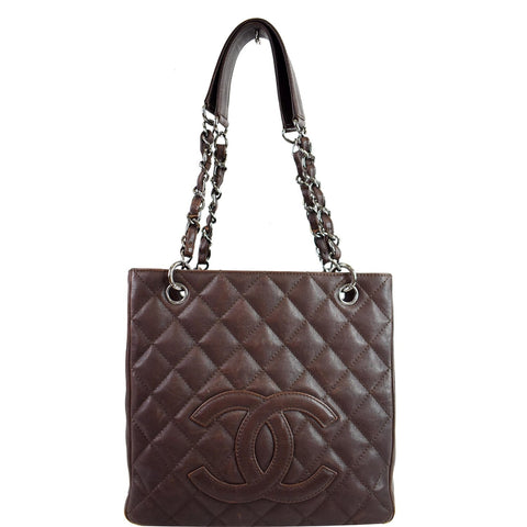 CHANEL PST Caviar Leather Petit Shopping Tote Bag Brown