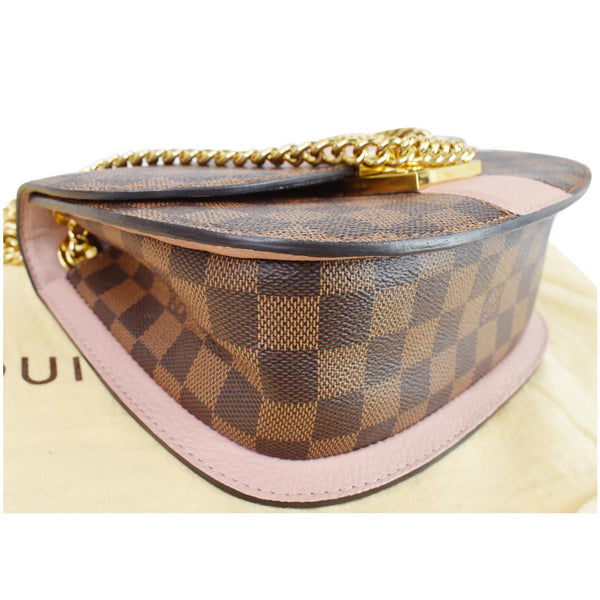 bottom corner - LV Wight Damier Ebene Crossbody Bag Magnolia