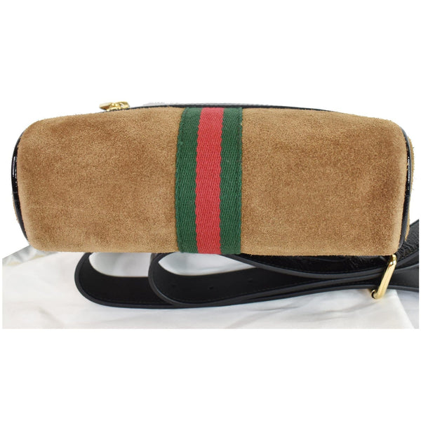 Gucci Ophidia Small Suede Web Belt Waist Bag Brown - backside view