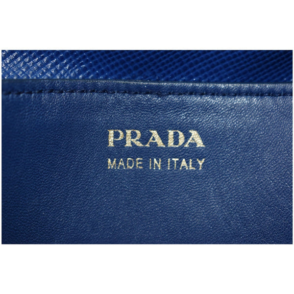 PRADA Galliera Two Tone Leather Tote Bag Blue/Tan
