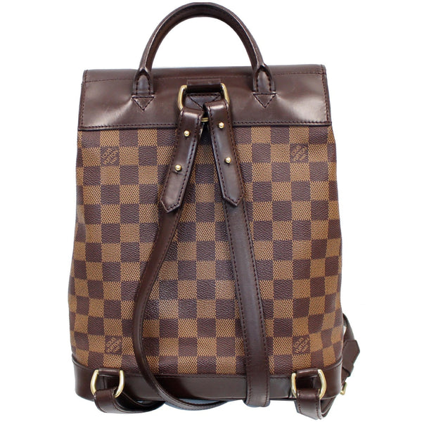Louis Vuitton Soho Damier Ebene Backpack Bag Brown with strap