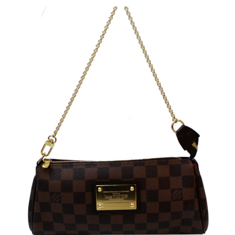 LOUIS VUITTON Pochette Eva Damier Ebene Clutch Crossbody Bag Brown