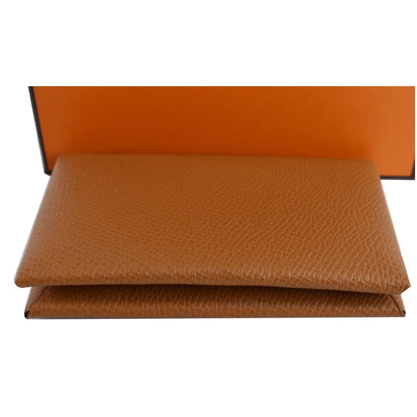 HERMES Calvi Epsom leather Card Holder Brown
