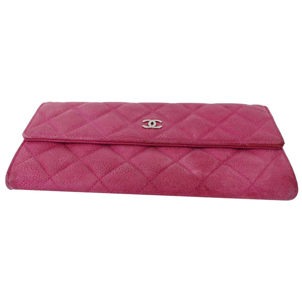 CHANEL CC Caviar Leather Long Wallet Pink