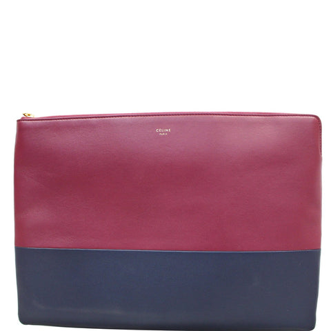 Celine Bi-Color Leather Clutch Pouch Burgundy/Black