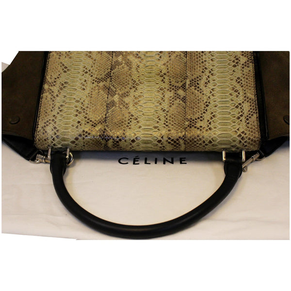 Celine Python and Black Leather Small Trapeze Bag-Strap