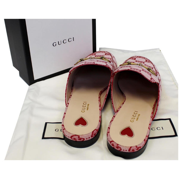 GUCCI Princetown GG Canvas Horsebit Slippers Red US 9