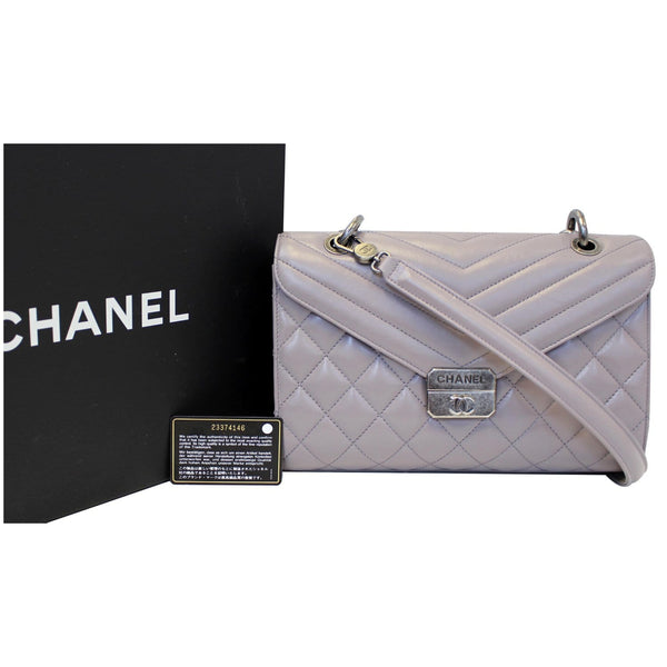 Chanel Flap Bag Quilted Sheepskin with Handle Lilac front view
