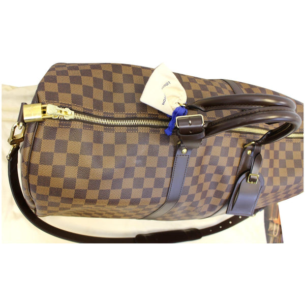 LOUIS VUITTON Keepall 55 Bandouliere Damier Ebene Travel Bag Brown