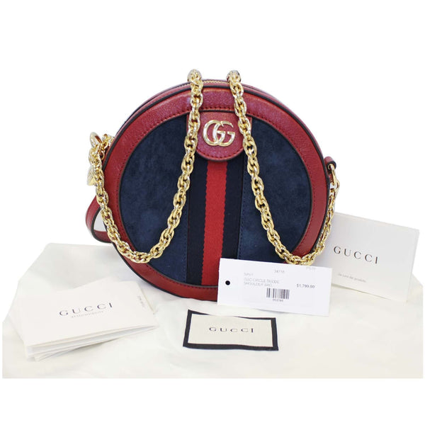 GUCCI Ophidia Mini GG Round Leather Shoulder Crossbody Bag 550618 Red