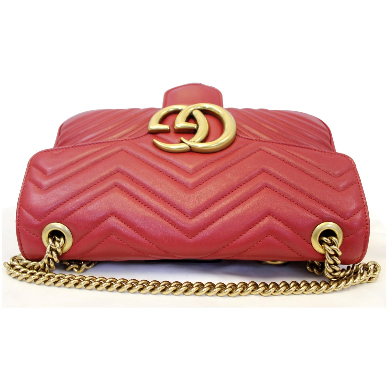 84d2658fa GUCCI GG Marmont Matelasse Leather Shoulder Bag Red 443496-US