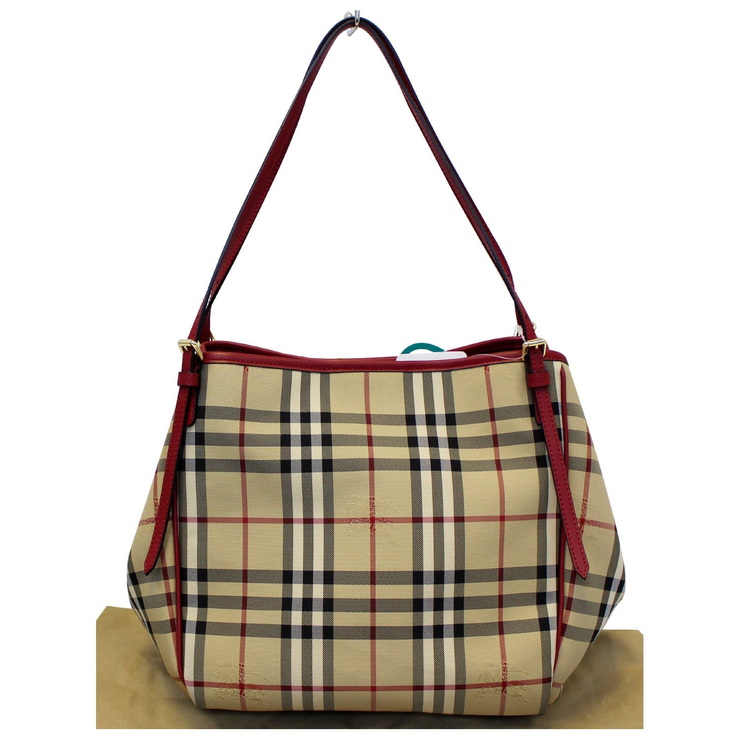 cb51b8f1d68c BURBERRY Haymarket Check PVC Tote Shoulder Bag-US