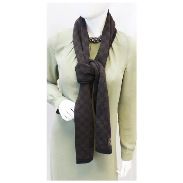 Louis Vuitton Damier Stole Scarf Wool Petit Brown for women