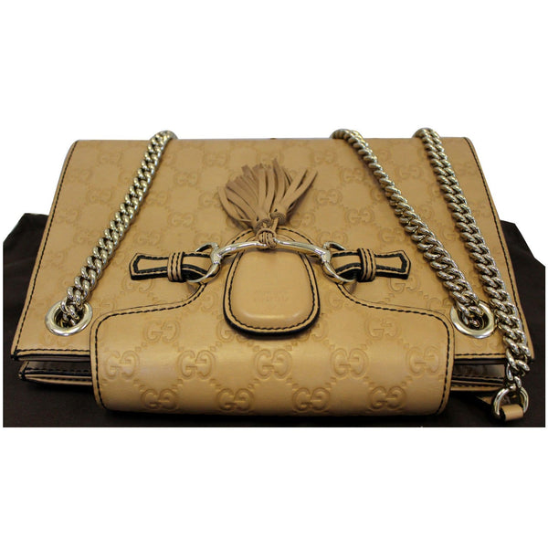 GUCCI Emily Guccissima Leather Chain Shoulder Bag Rose Beige 369621