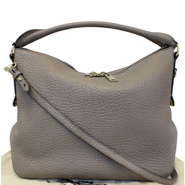 Burberry Leather Ledbury Grain Hobo Shoulder Bag - front
