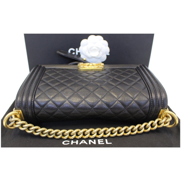 Chanel Le Boy Medium Flap Bag Caviar Leather Black bottom view