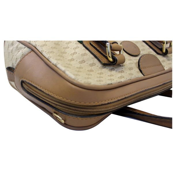 GUCCI Boston Doctor GG Canvas Satchel Handbag Brown