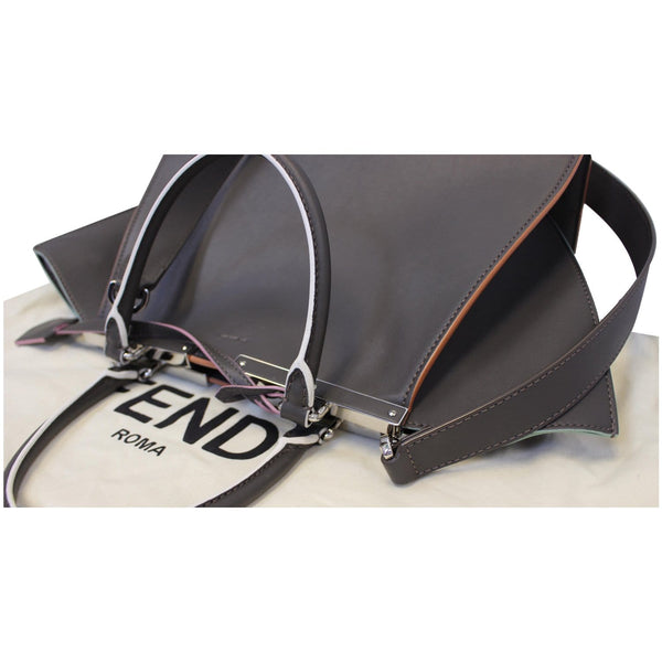 Fendi Petite 3Jours Calfskin Leather Tote Bag Dark Grey bottom view