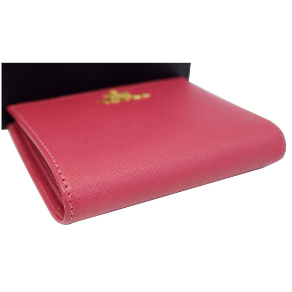 Prada Saffiano Wallet | Bifold Card Wallet Red - View with box