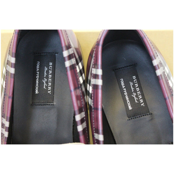 Burberry Check Leather Loafers - tags