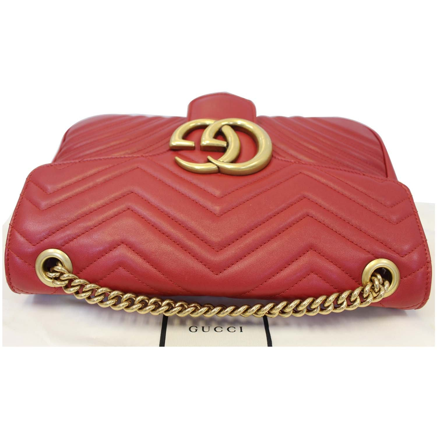 60fdcdb92 GUCCI GG Marmont Matelasse Red Leather Shoulder Bag