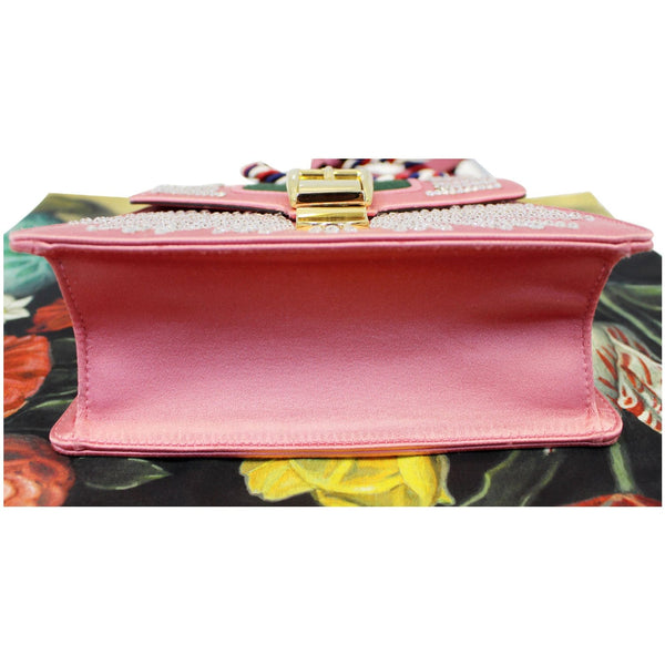 Gucci Shoulder Bag Mini Sylvie Satin Crystal Peony - bottom