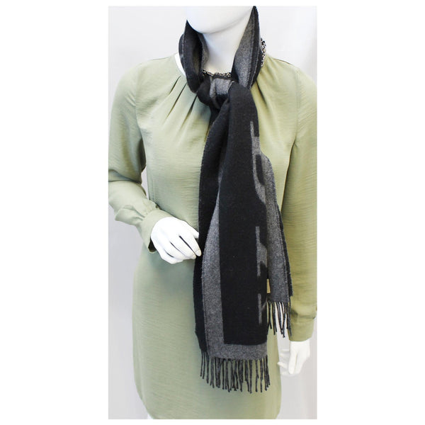 Burberry Scarf Logo Text Cashmere Black & Grey