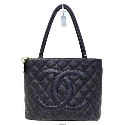 CHANEL Medallion Quilted Caviar Leather Tote Bag Black